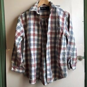 VINTAGE White Blue Red Oversize 3/4 Sleeve Flannel